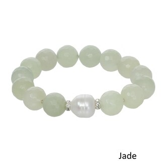 Genuine Gemstone and Freshwater Pearl Stretch Bracelet