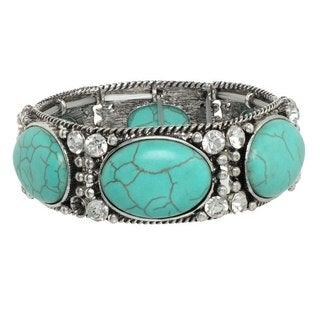 J&H Designs Silvertone Turquoise and Rhinestone Fancy Stretch Bracelet