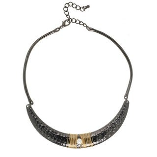J&H Designs Pearl and Two-tone Hammered Crescent Necklace