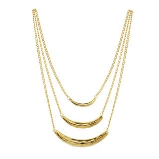 J&H Designs Hammered Bar Three-Strand Necklace