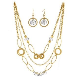 J&H Designs Crystal and Goldtone Hoop Three-strand Necklace and Earrings Jewelry Set
