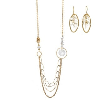 J&H Designs Swag Crystal & Goldtone Multi-Chain Necklace and Earrings Jewelry Set