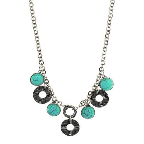 Turquoise and Silvertone Round Charm Necklace