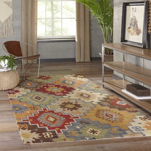 """Momeni Tangier Multicolor Hand-Tufted Wool Rug - 9'6"""" x 13'6"""""""