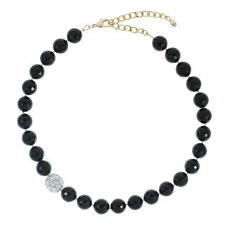 Faceted Black Onyx and Rhinestone Fireball Accent Bead Necklace