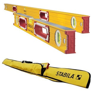 "Stabila 37524 Heavy Duty 59""/24"" Type 196 Construction Level Set w/ 6-Pocket Jamber Case"