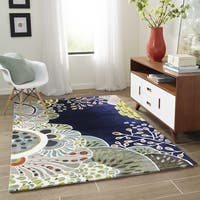 "Momeni New Wave Navy Hand-Tufted and Hand-Carved Wool Rug - 9'6"" x 13'"