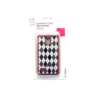 Cricket Body Glove Posh Black and White Plaid on Magenta Snap-on Case for LG Optimus L9