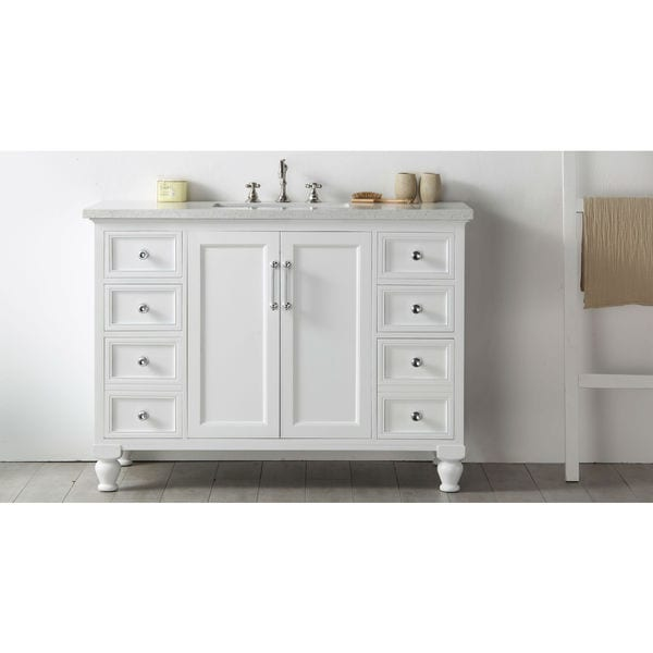 Legion furniture quartz top 48 inch white single bathroom for Legion furniture 30 inch bathroom vanity