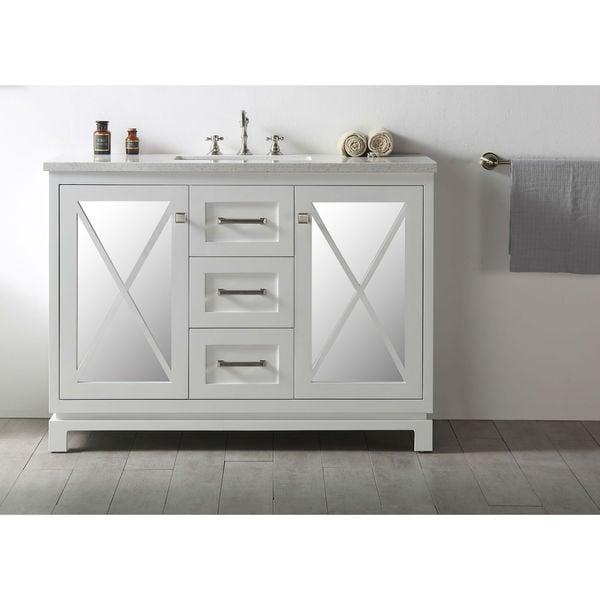 cool grey white bathroom vanity | Shop Legion Furniture Quartz Top 48-inch Cool Grey Single ...