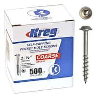 Kreg SML-C150-500 Pocket Hole Screws 1-1/2-Inch #8 Coarse Washer-Head 500ct