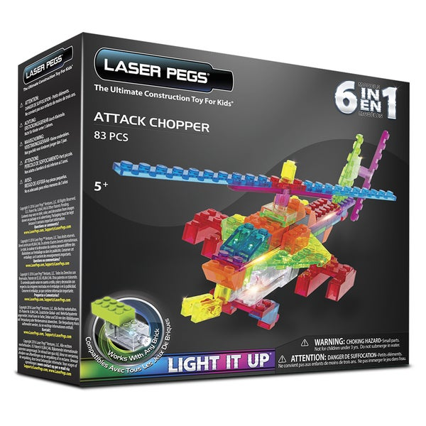 Laser Pegs 6-in-1 Attack Chopper Lighted Construction Toy