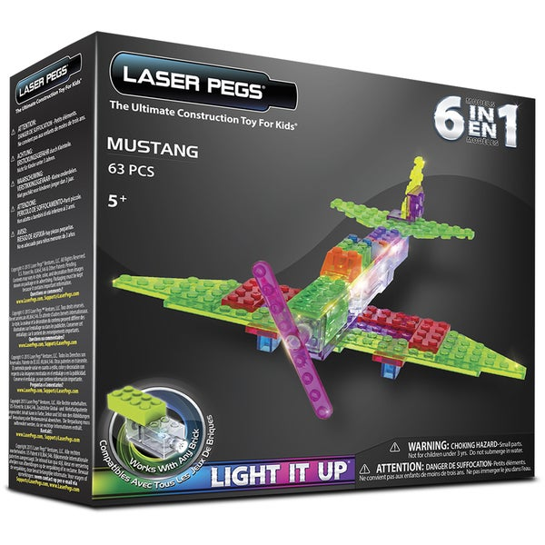Laser Pegs Multicolor Plastic 6-in-1 Mustang Light-up Construction Toy