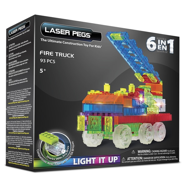 Laser Pegs 6-in-1 Fire Truck Multicolor Plastic Lighted Construction Toy