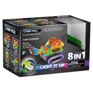 Laser Pegs Multicolor Plastic 8-in-1 Tank Runner Lighted Construction Toy