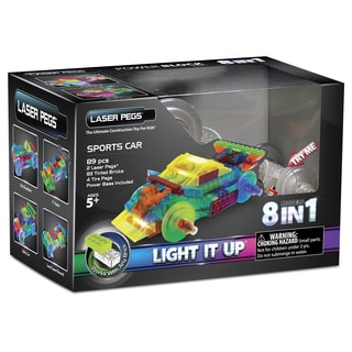 Laser Pegs Power Block 8-in-1 Sports Car Lighted Construction Toy