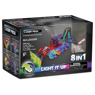 Laser Pegs Power Block Multicolor Plastic 8-in-1 Bulldozer Light-up Construction Toy
