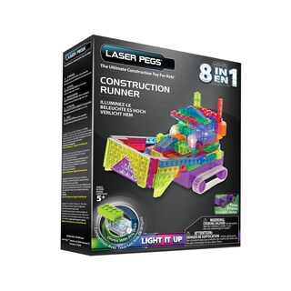 Laser Pegs Plastic 8-in-1 Construction Runner Lighted Construction Toy