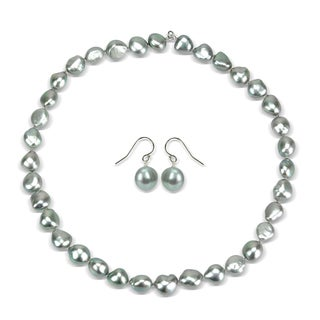 DaVonna Sterling Silver 10-12mm Gray Baroque Freshwater Cultured Pearl Necklace and Hoop Earrings Se