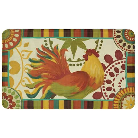 "Mohawk Painted Spice Rooster Dri- Pro Comfort Mat (1'6 x 2'6) - Orange/Green/Yellow - 1'6"" x 2'6"""