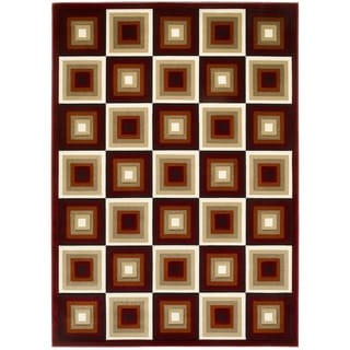 Lyke Home Hand-carved Red Squares Area Rug (8 x 11)