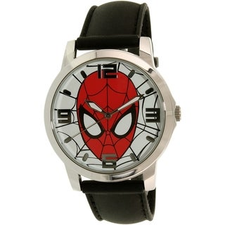 Disney Ultimate Spider-Man SPMAQ579 Black Leather/Stainless Steel Analog Quartz Men's Watch