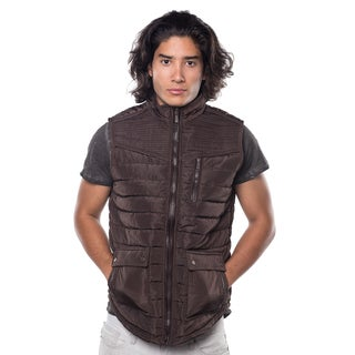 Rock Revolution Men's Quilted Fur-lined Zip-up Suede-piped Chest Zipper Pocket Vest