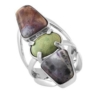 Sterling Silver Kingman Turquoise and Bertrandite Ring
