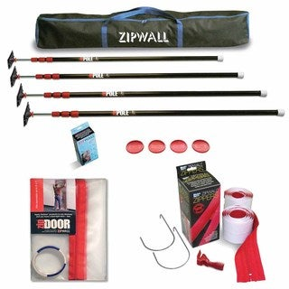 ZipWall 10 4-Pack Dust Barrier System w/ ZipDoor Kit & 2-Pack Heavy Duty Zipper