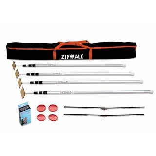 ZipWall 12 4-Pack Dust Barrier System w/ 2 FoamRail Adjustable Tapeless Seals