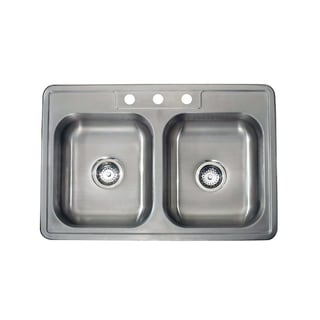 20-gauge Stainless Steel 33-inch x 22-inch Drop-in Double Bowl Sink