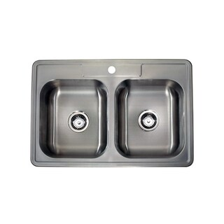 Satin 18-gauge Stainless Steel 33-inch x 22-inch Drop-in Double Bowl Sink