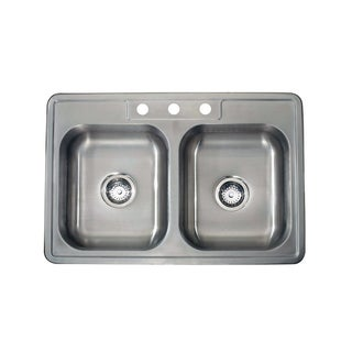 Satin Finish 22-gauge Stainless Steel Drop-in Double Bowl Sink