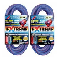US Wire 25-Foot Blue Cold Weather Extension Cord (2-Pack) - 25'