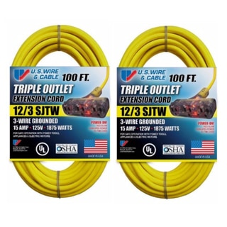 U.S. Wire Yellow Extension Cord with Lighted Pow-R-Block (2-Pack)