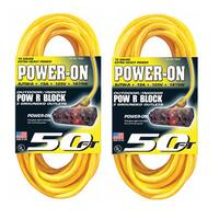 U.S. Wire 50-Foot Yellow Extension Cord with Lighted Pow-R-Block (2-Pack) - 50'