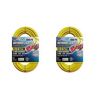US Wire 12/3 SJTW 100-Foot Outdoor Lighted Extension Cord (Yellow, 2-Pack) - 100'