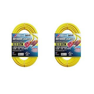 US Wire 74050 50-Foot Heavy Duty Lighted Plug Extension Cord (Yellow, 2-Pack)