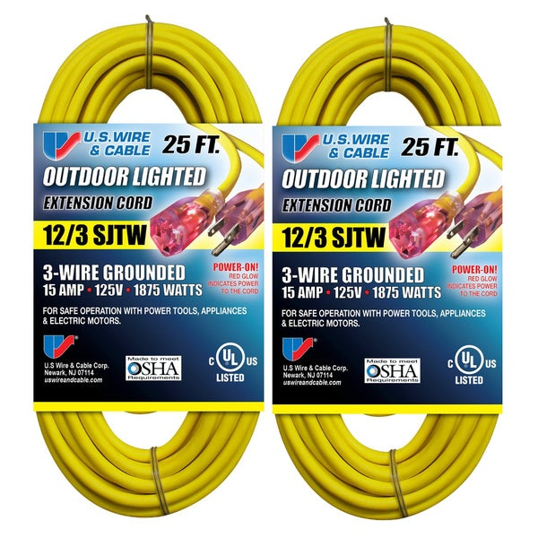 shop us wire 25-ft 12/3 sjtw heavy duty extension cord (yellow/lighted  plug, 2-pk) - 25' - free shipping on orders over $45 - overstock - 12733982