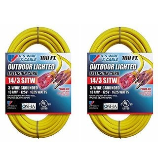 US Wire and Cable 14/3 100-Feet SJTW Yellow Lighted Extension Cord (2-Pack)