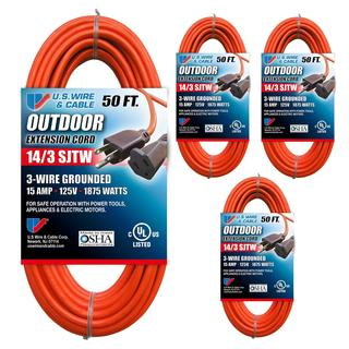 US Wire 63050 14/3 50-Foot SJTW Orange Medium Duty Extension Cord