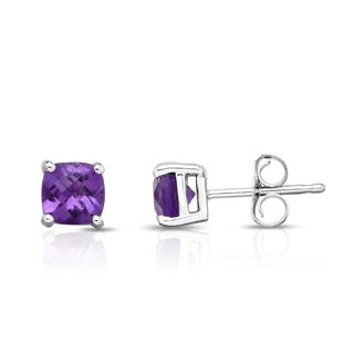 Noray Designs 14k White Gold Cushion-cut Amethyst Stud Earrings