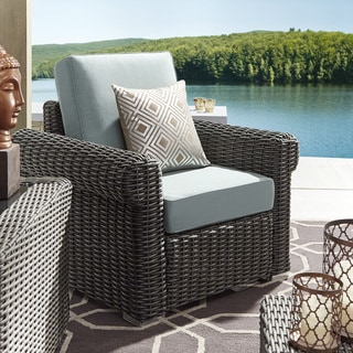 Barbados Wicker Outdoor Cushioned Grey Charcoal Occasional Chair with Rolled Arm by NAPA LIVING