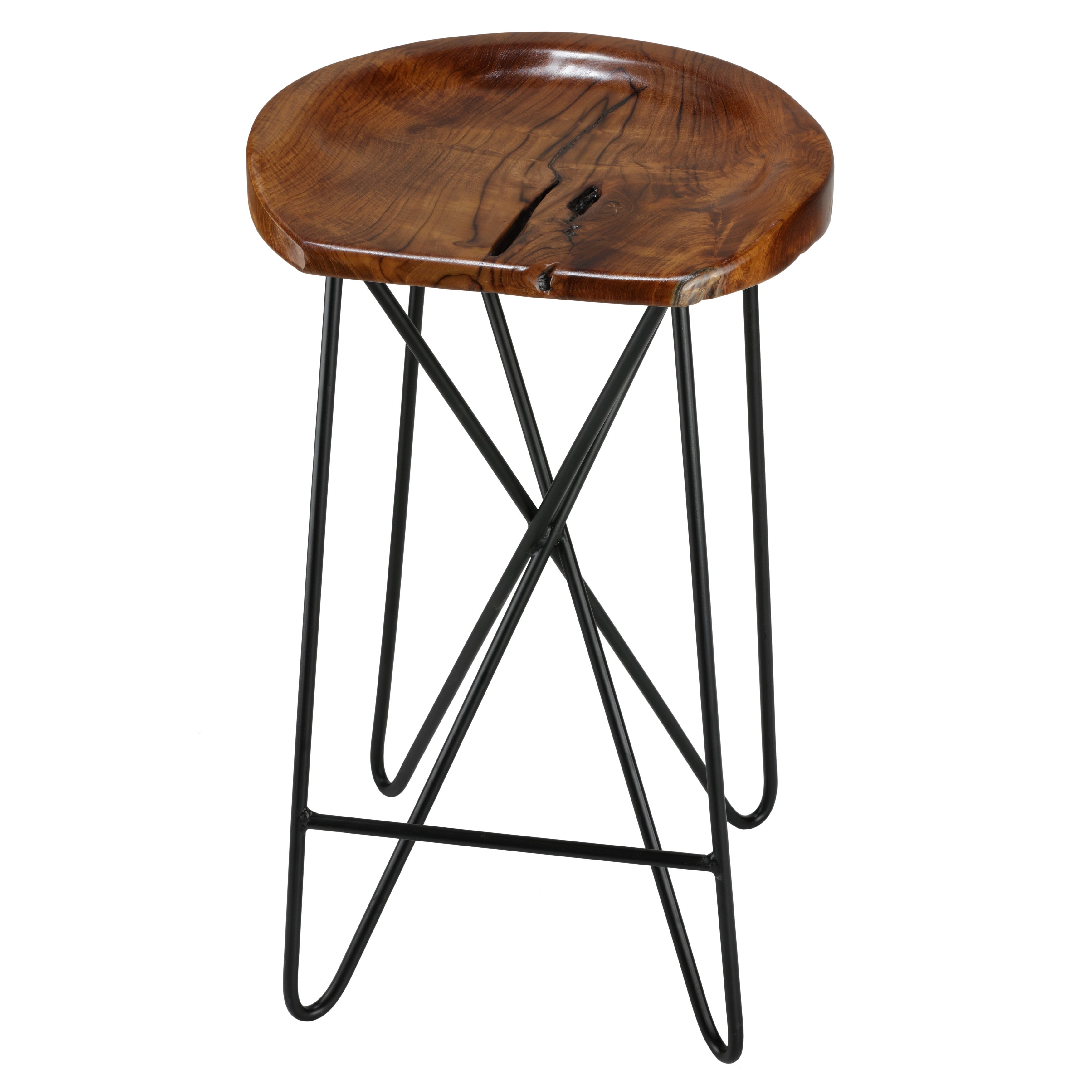 Stupendous Bare Decor Aloha Backless Teak Counter Stool With Metal Legs Gmtry Best Dining Table And Chair Ideas Images Gmtryco