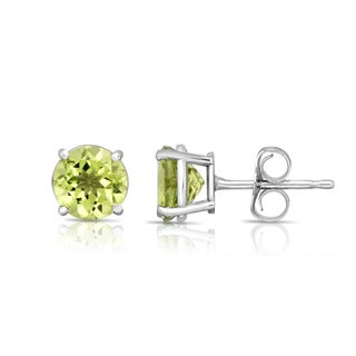 Noray Designs 14k White Gold Round-cut Peridot Stud Earrings