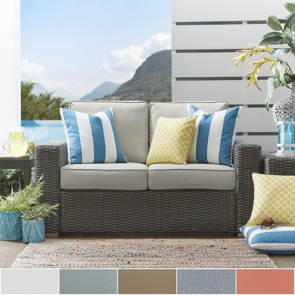 Charming Barbados Wicker Outdoor Cushioned Grey Charcoal Loveseat With Square Arm  INSPIRE Q Oasis