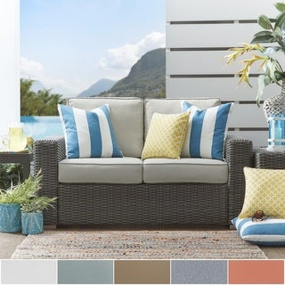Barbados Wicker Outdoor Cushioned Grey Charcoal Loveseat with Square Arm iNSPIRE Q Oasis