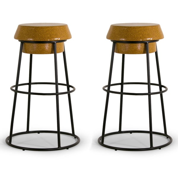 Happy Wine Cork Black Iron Bar Stool Set Of 2 Free