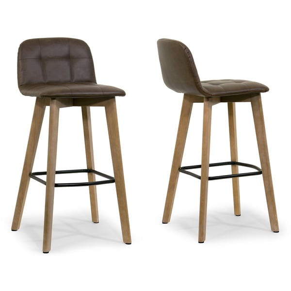 Faux Leather Brown Counter Stool Set Of 2 Dining Room Bar: Shop Aggie Dark Brown Faux Leather And Oak Bar Stool (Set