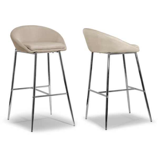Shop Agatha Modern Cream Fabric And Chrome Bar Stools Set